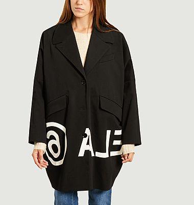 Oversized cotton coat with reverse logo
