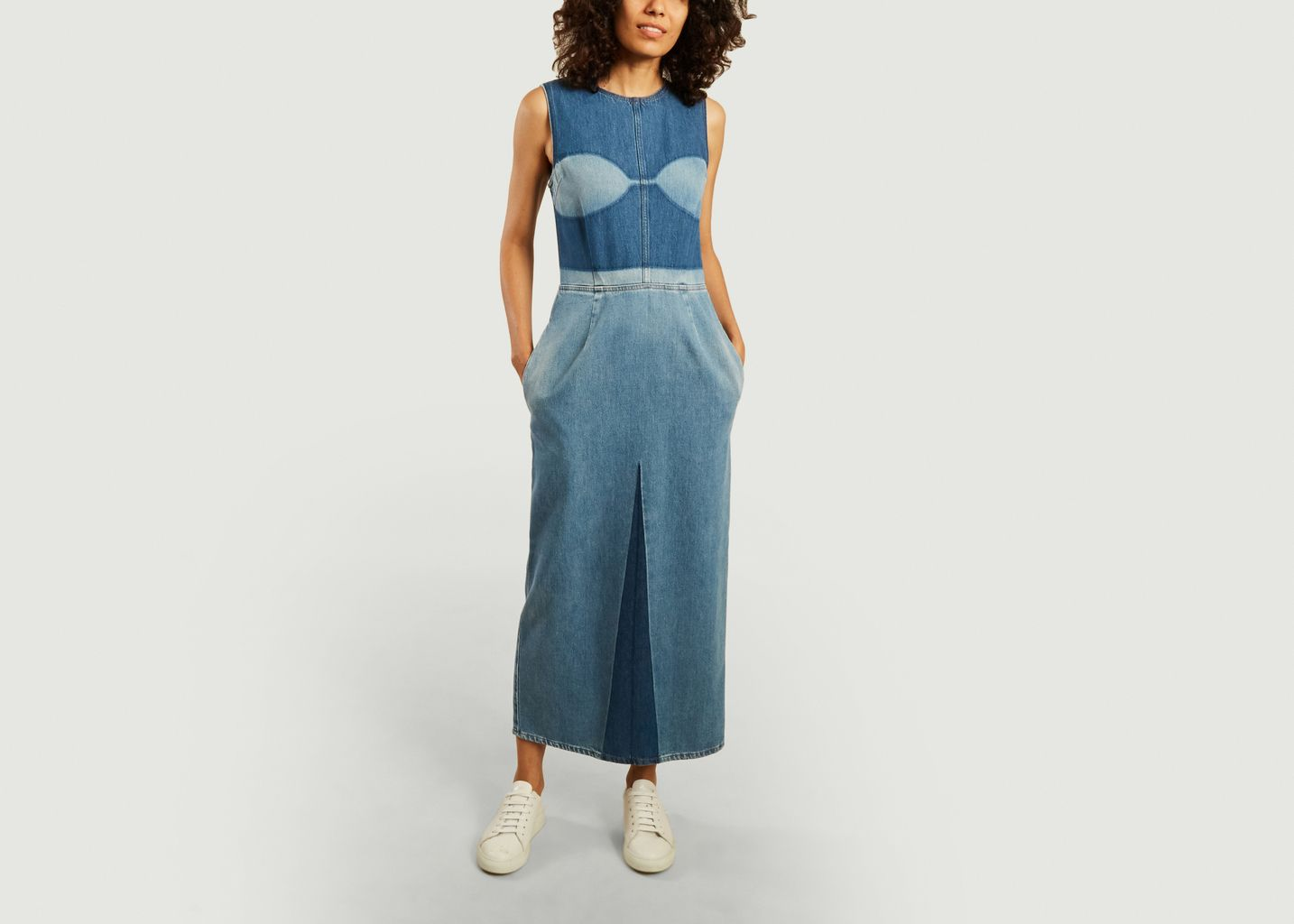 Robe longue en jean bicolore - MM6 Maison Margiela