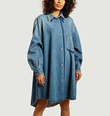 Oversized long sleeves denim shirt dress