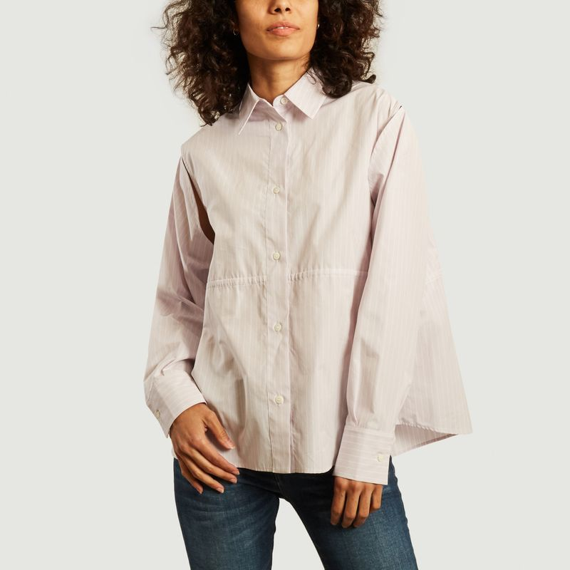 Chemise rayée oversize avec liens de serrage - MM6 Maison Margiela