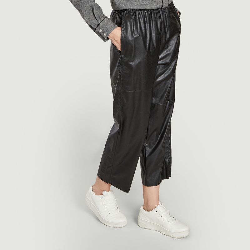 Pantalon loose 7/8e en simili cuir - MM6 Maison Margiela