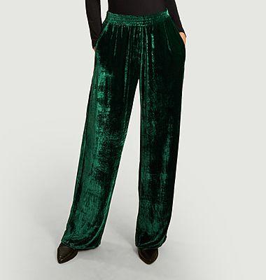 Pantalon ample taille haute en velours