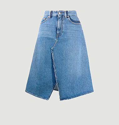 Jupe midi asymétrique en jean