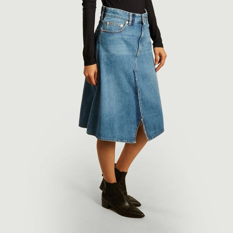 Denim asymmetrical midi skirt - MM6 Maison Margiela