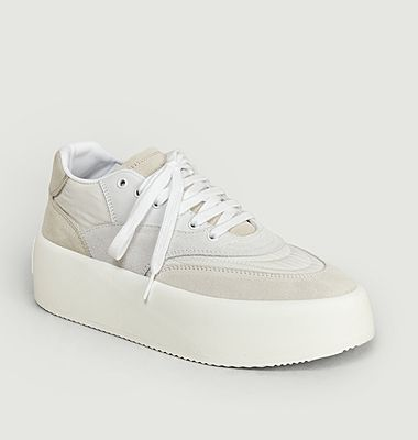 Leather and fabric platform sneakers