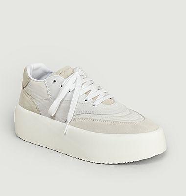 Sneakers cuir et tissu à plateforme