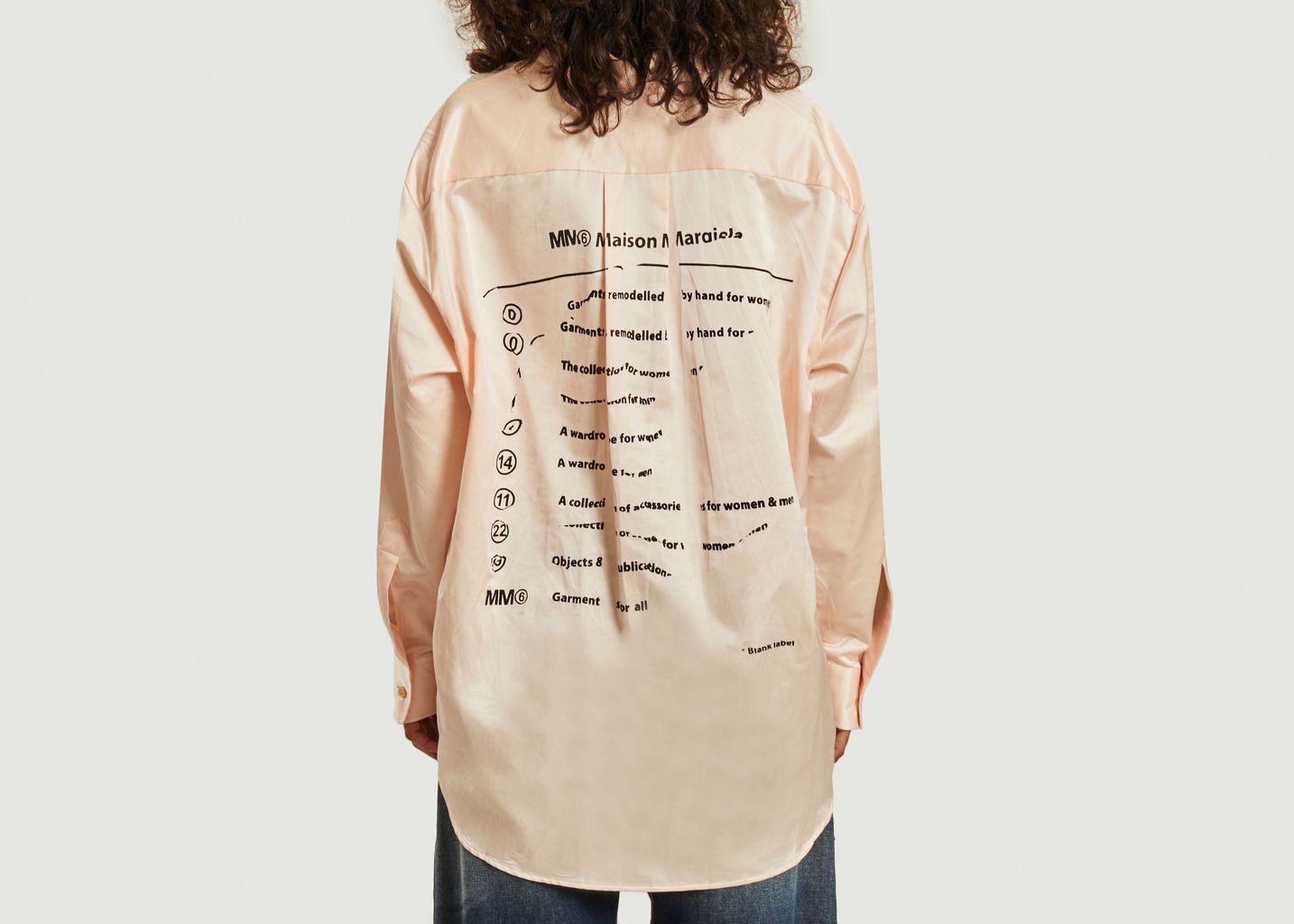 Chemise en satin avec imprimé logotypé au dos - MM6 Maison Margiela