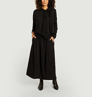 Long sleeves knotted collar long dress