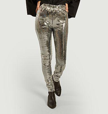 Mid-rise wasit sequins leggings