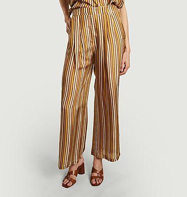 Pantalon ample rayé en soie Lanzarote
