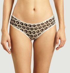 Floral pattern panties with bow