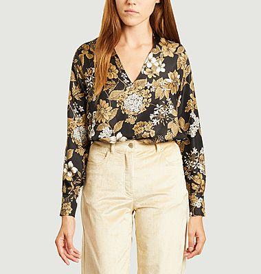 Acquamarina flower print silk blouse