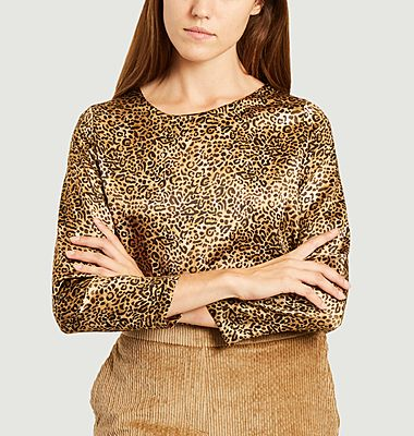 Top en soie imprimé léopard Bombolone