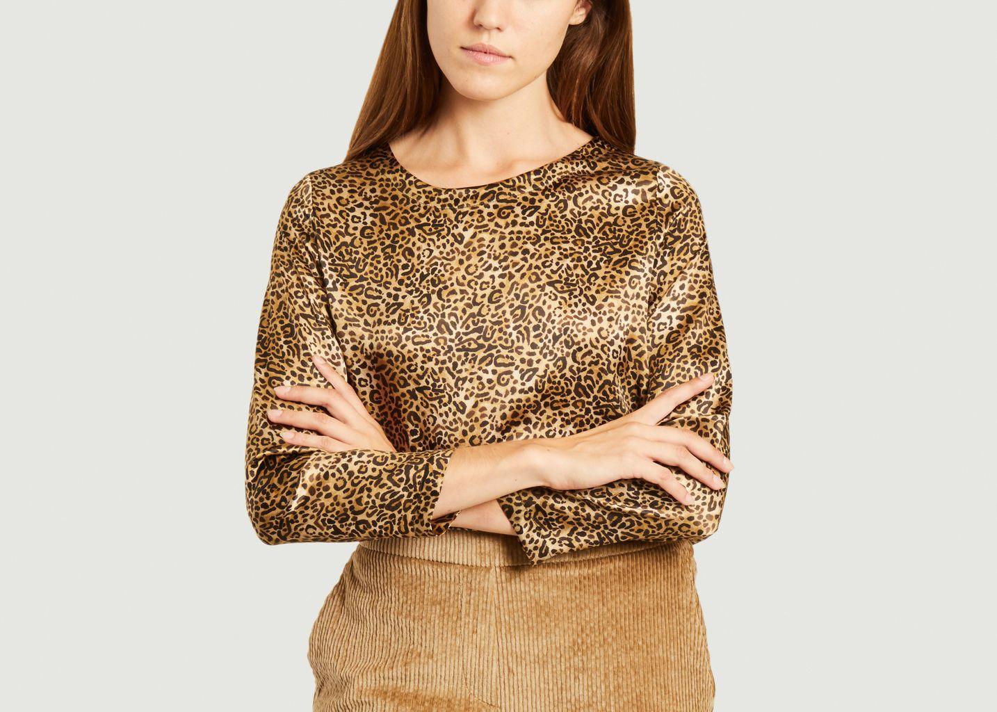 Top en soie imprimé léopard Bombolone - Momoni