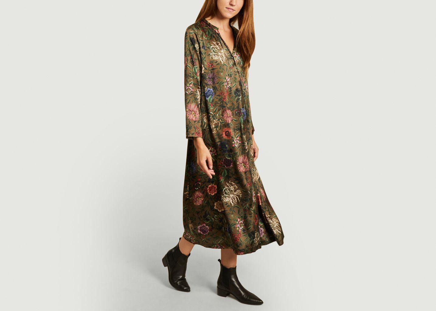 Robe en soie imprimé fleuri Cicinizza Bis - Momoni