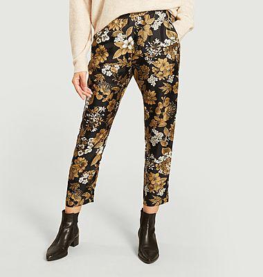 Pantalon 7/8e en soie imprimé fleuri Avena