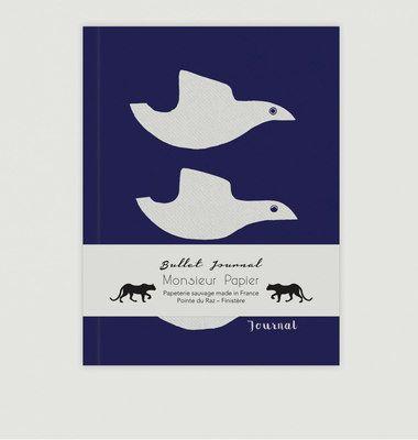 Bullet Journal Bleu Motif Oiseaux