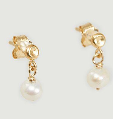 Boucles d'oreilles puces vermeil jaune et perle Tia