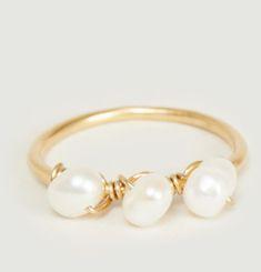 Bague vermeil jaune et perles Tia