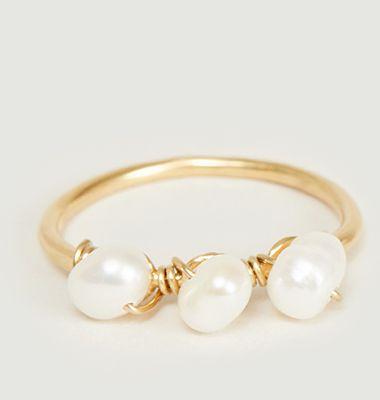 Tia yellow vermeil and pearls ring