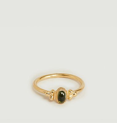 Green tourmaline lila ring
