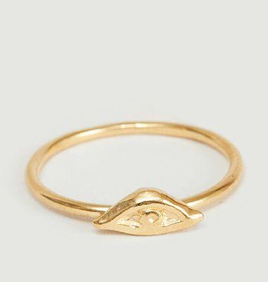 Izza Small eye pattern yellow vermeil ring
