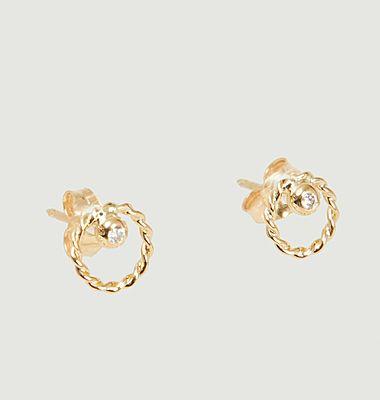 Boucles d'oreilles puces or et diamant Alya