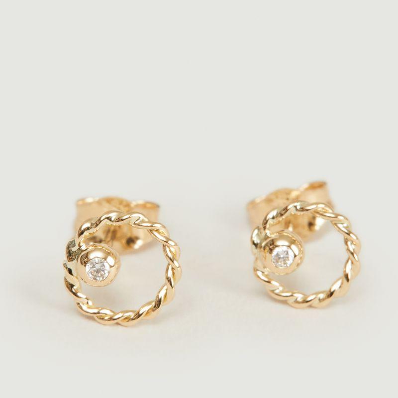 Boucles d'oreilles puces or et diamant Alya - Monsieur