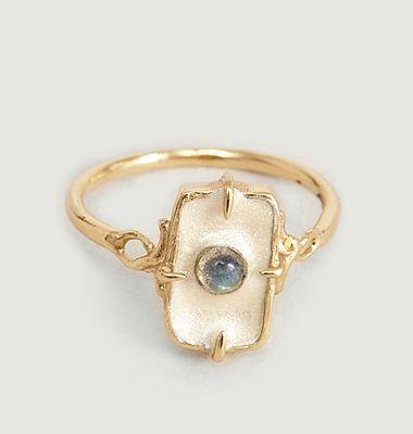 Alfred vermeil, enamel and labradorite ring