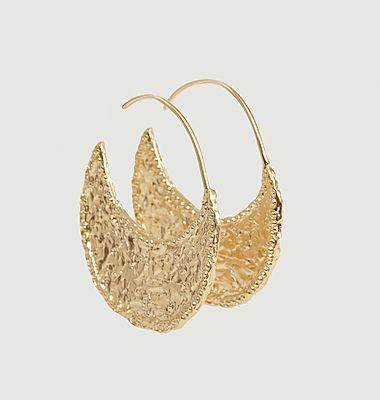 Boucles d'oreilles créoles en vermeil Lune