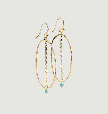Boucles d'oreilles pendantes avec turquoise Bohème