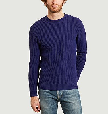 Lambswool sweater with contrasting elbows
