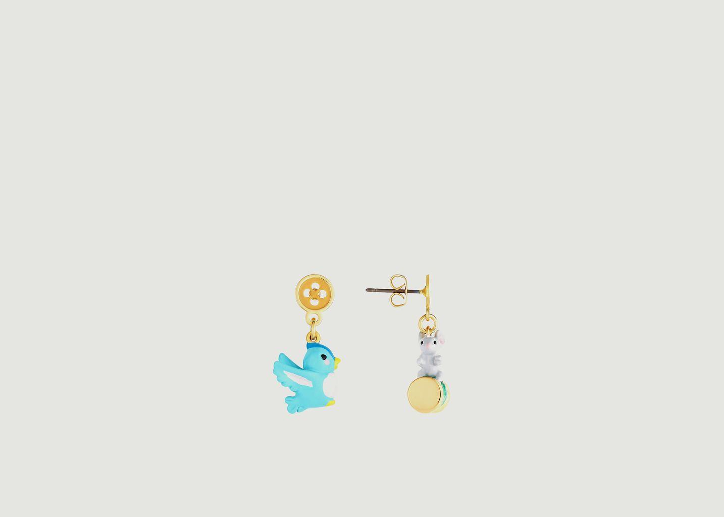 Boucles d'oreilles pendantes dépareillées oiseau et souris - N2