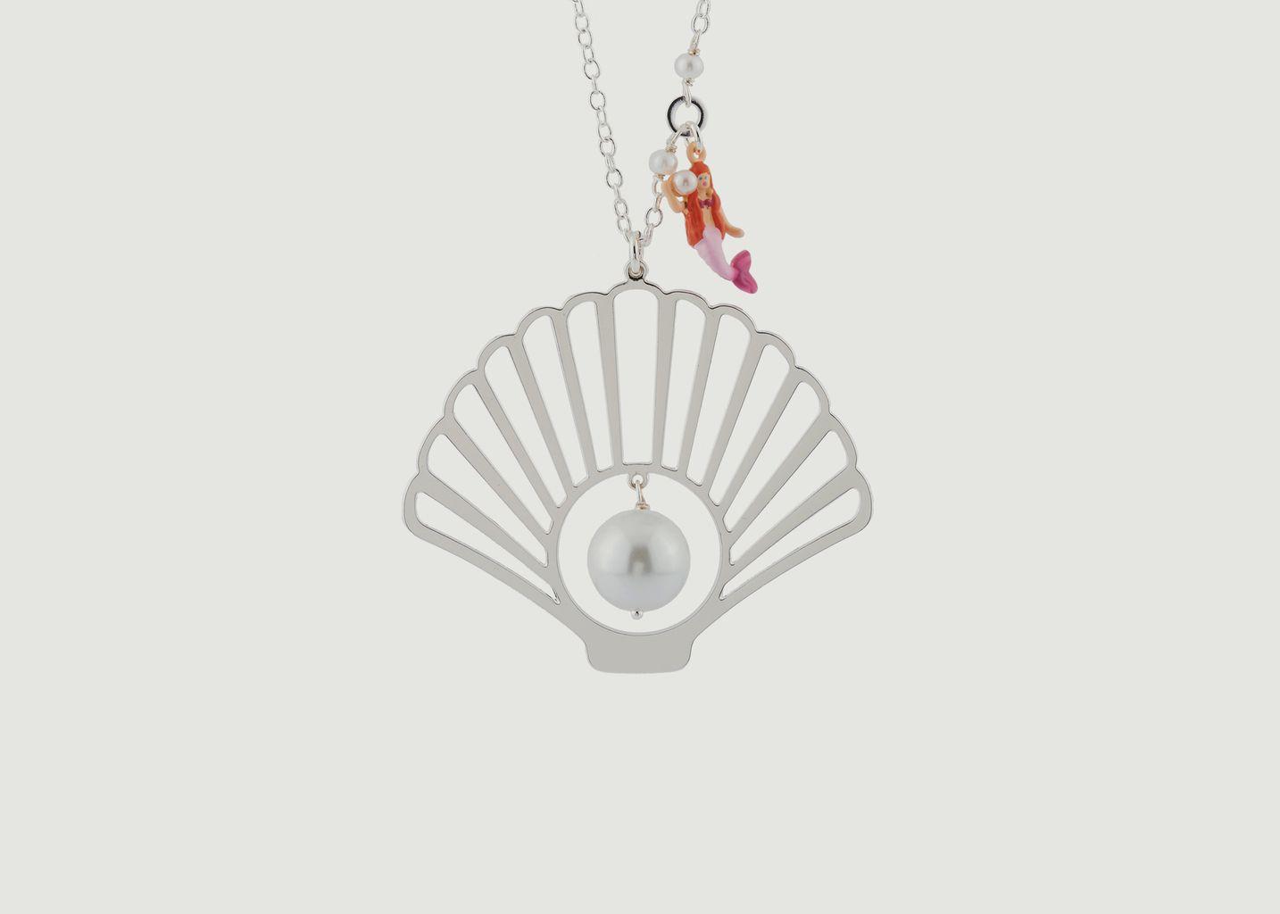 Sautoir Coquillage Argenté, Perle Et Pampille Petite Sirène  - N2
