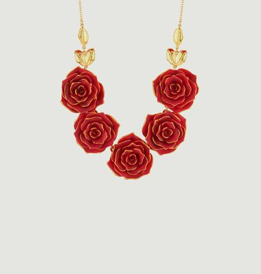 Collier Plastron Roses Rouges