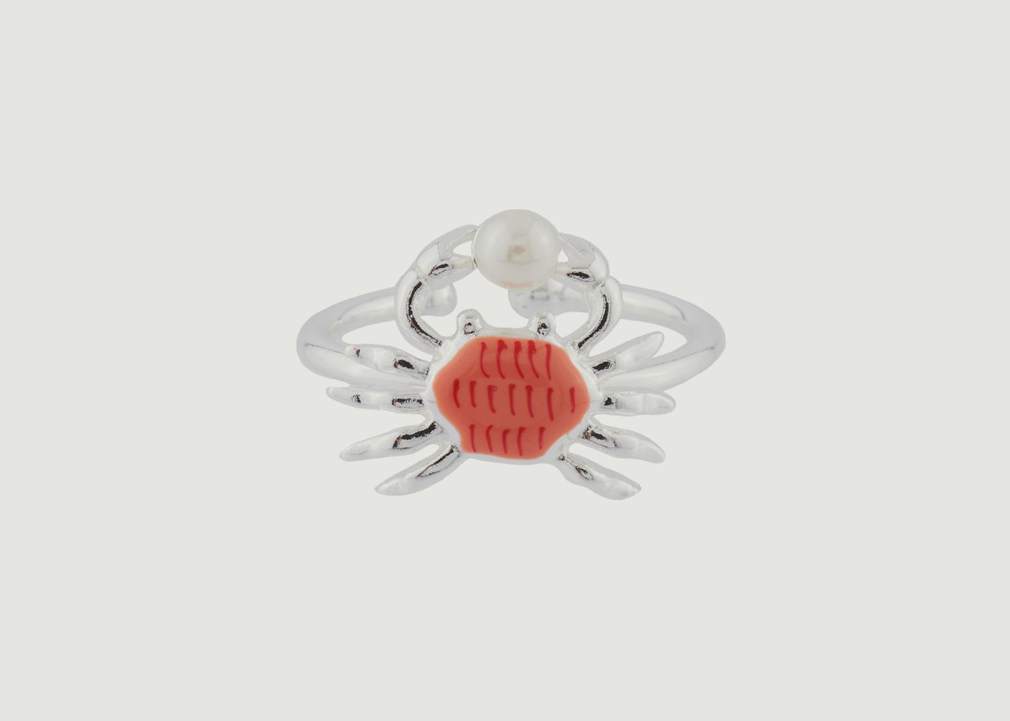 Bague Ajustable Petit Crabe Et Perle - N2