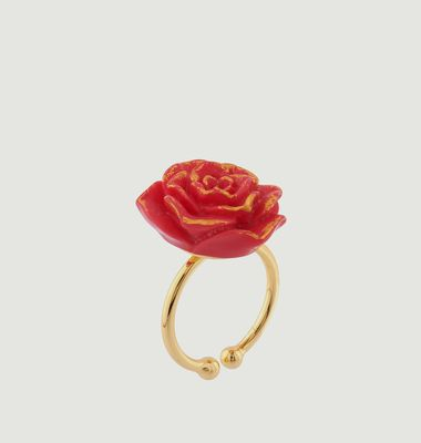 Bague Ajustable Rose Rouge