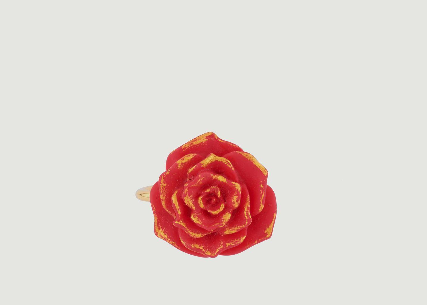 Bague Ajustable Rose Rouge - N2