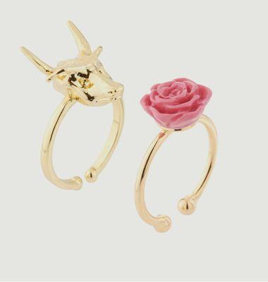 Duo De Bagues Rose Et Dragon