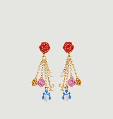 Boucles d'Oreilles Rose Rouge et Pampilles la Belle, Fleurs, Perle et Chandelier