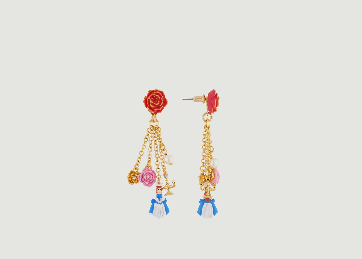 Boucles d'Oreilles Rose Rouge et Pampilles la Belle, Fleurs, Perle et Chandelier - N2