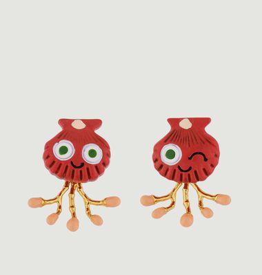 Boucles d'Oreilles Asymétriques Petit Coquillage