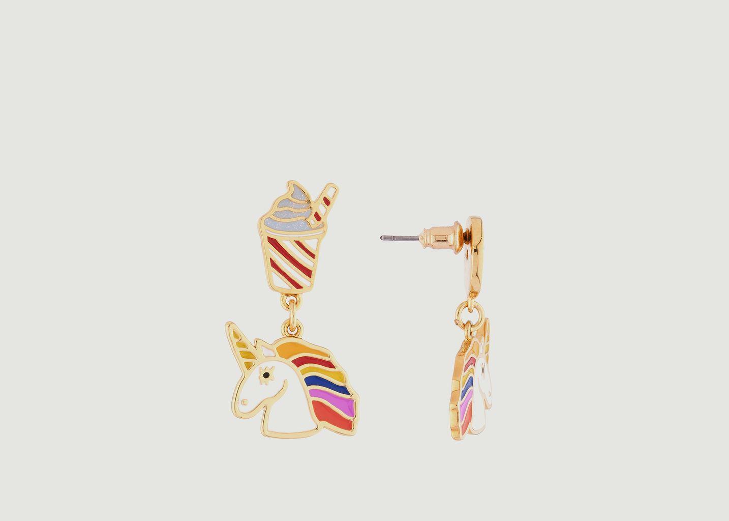 Boucles d'Oreilles Asymétriques Licorne, Arc-en-Ciel, Milkshake et Donut - N2