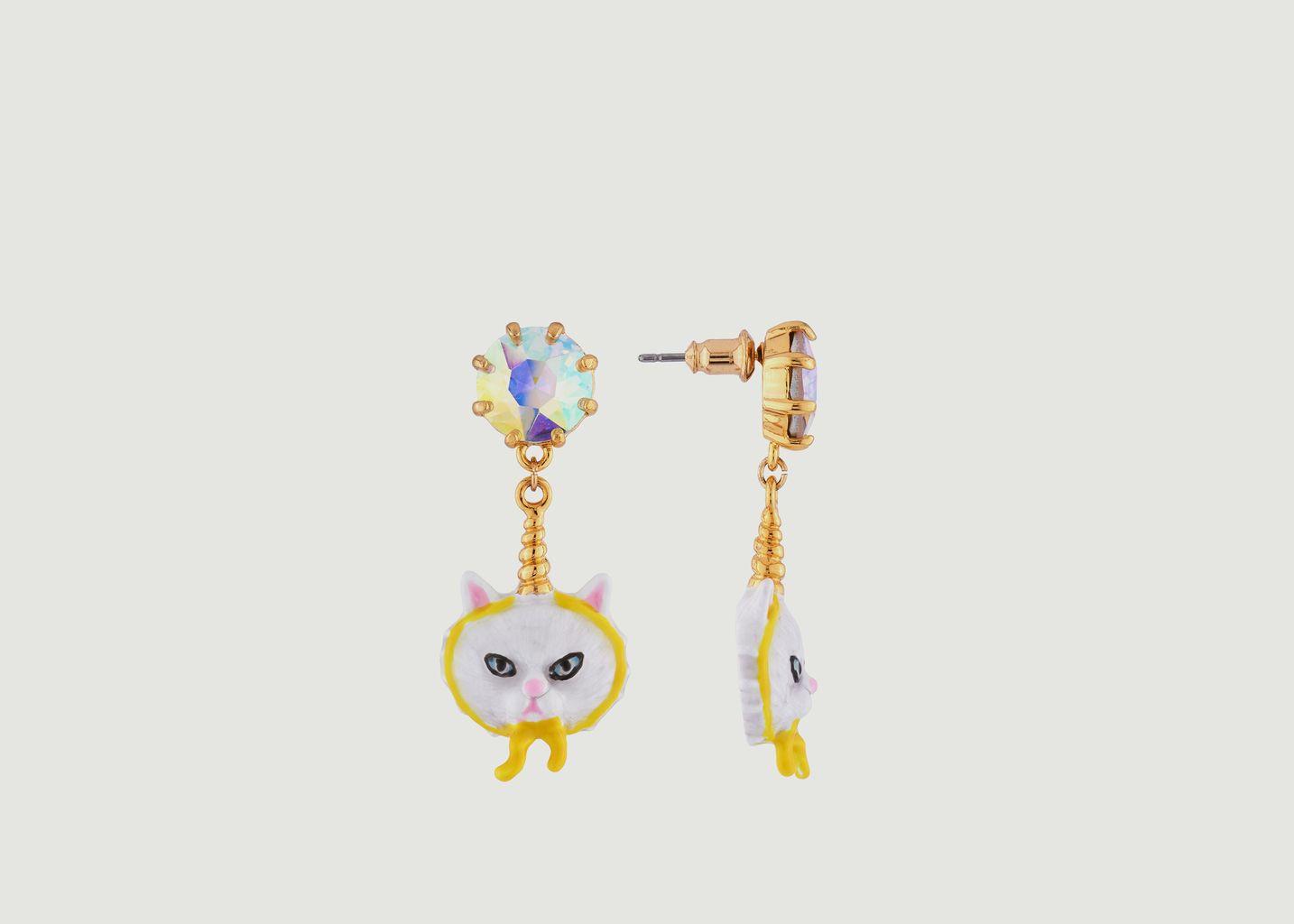 Boucles d'Oreilles Edgar le Chat Persan Déguisé en Licorne et Strass - N2