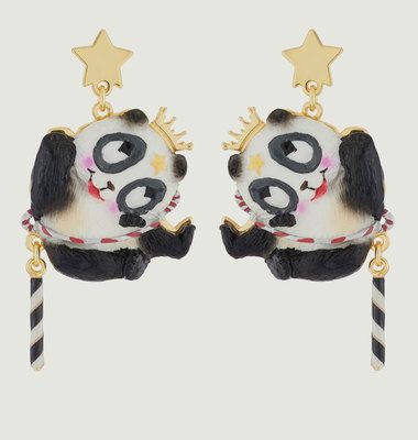 Flying Panda Pendant Earrings