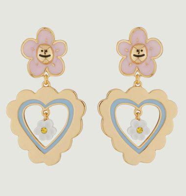 Boucles d'Oreilles Fleurs Coeurs