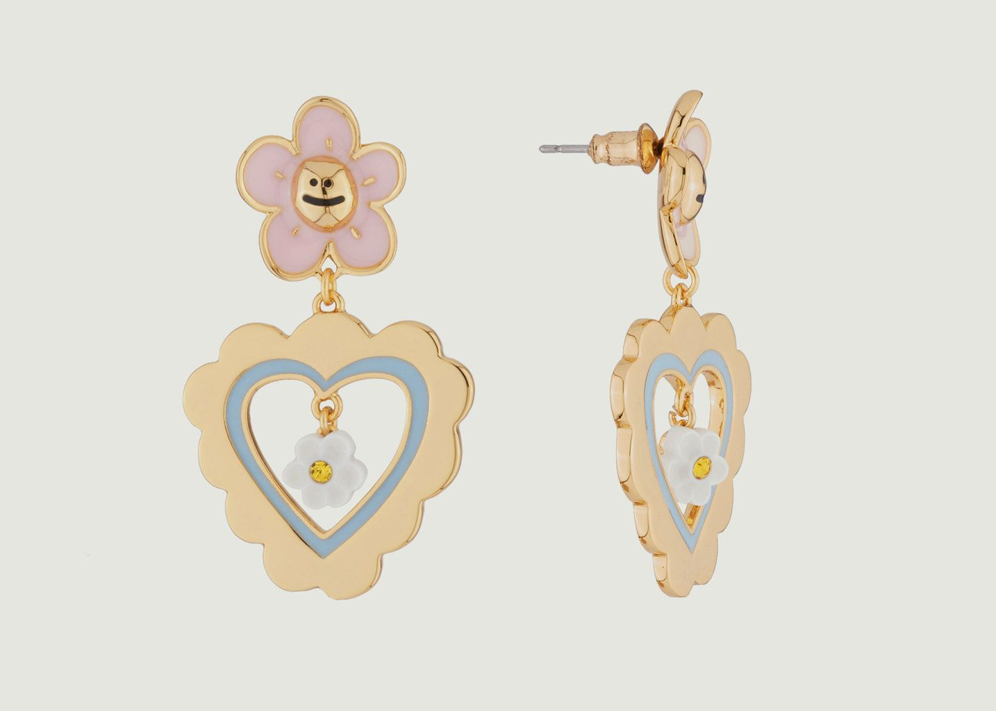 Boucles d'Oreilles Fleurs Coeurs - N2