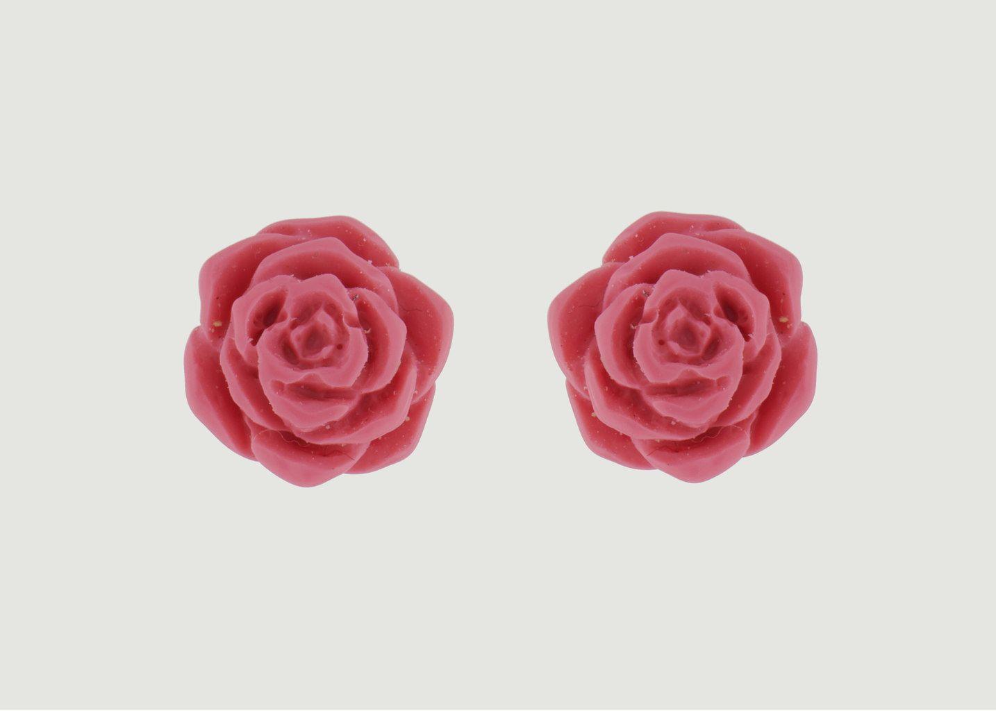 Boucles D'Oreilles Tige Rose - N2