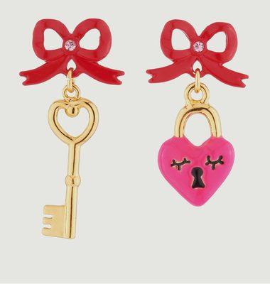 Key & Heart Pendant Earrings