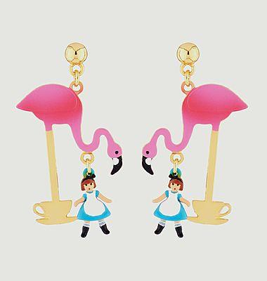 Boucles d'oreilles pendantes Alice et flamant rose Teatime
